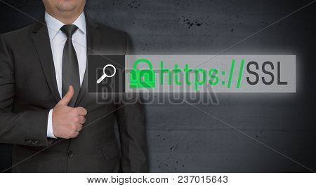 Ssl Browser Concept And Businessman With Thumbs Up Picture