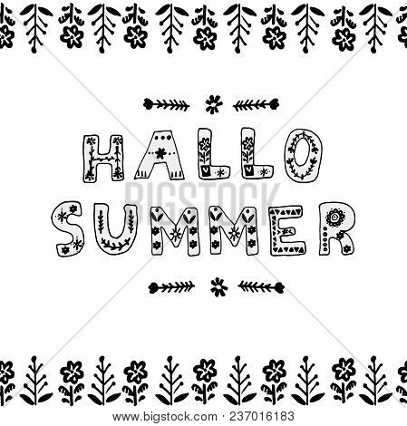 Vector Poster With Hand Drawn Letters In Scandinavian Style. Hallo Summer.