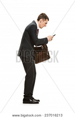 Full Body Or Full-length Portrait Of Businessman Or Diplomat With Briefcase On White Studio Backgrou