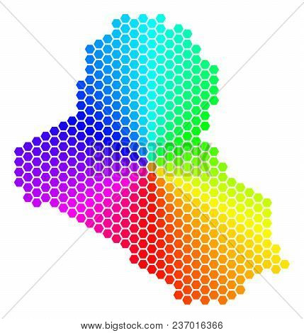 Hexagon Spectrum Iraq Map. Vector Geographic Map In Bright Colors On A White Background. Spectrum Ha