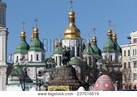 Saint Sophia Cathedral At Sofiiska Square In Kiev. Ukraine. Monument To Famous Ukrainian Hetman Bogd