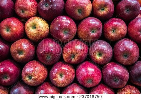 Red Ripe Apple Background. Ripe Fruits Neatly Laid Out On The Counter In The Store