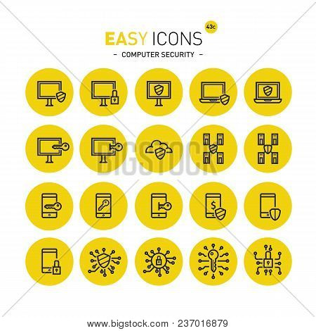 Vector Thin Line Flat Design Icons Set For Computer Security Theme