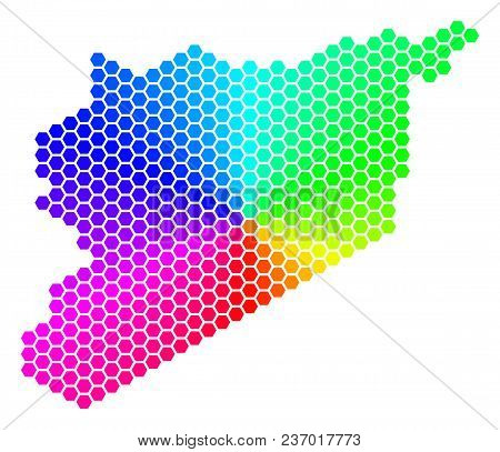 Hexagon Spectrum Syria Map. Vector Geographic Map In Rainbow Colors On A White Background. Spectrum