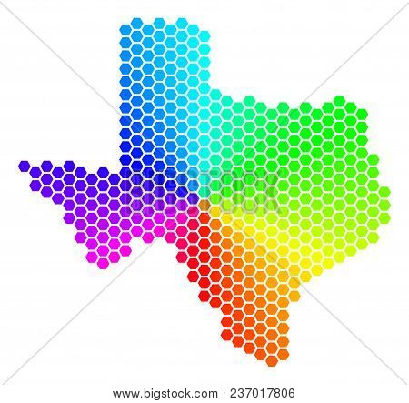 Spectrum Hexagon Texas Map. Vector Geographic Map In Rainbow Colors On A White Background. Spectrum