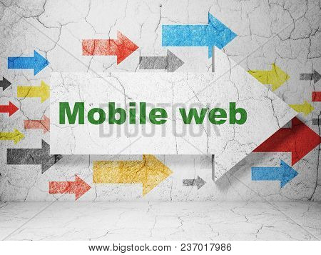 Web Design Concept:  Arrow With Mobile Web On Grunge Textured Concrete Wall Background, 3d Rendering