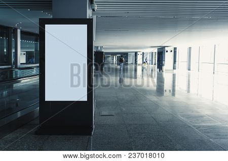 Digital Media Blank Black And White Screen Modern Panel, Signboard For Advertisement Design In A Sho