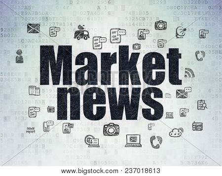 News Concept: Painted Black Text Market News On Digital Data Paper Background With  Hand Drawn News