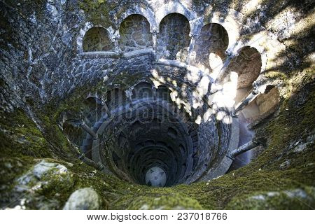 View From Above Of Iniciatic Well In Quinta Da Regaleira, Sintra, Portugal