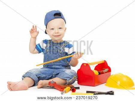 Baby Boy Playing Tools Toys, Child With Construction Tool Box Isolated Over White, Happy Kid One Yea