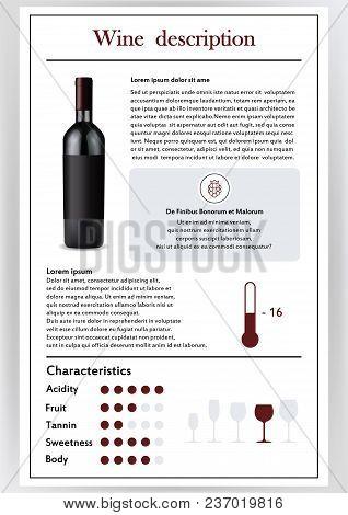 Brochure, Form Describing The Characteristics Of Red Wine.feed Temperature, Brief Description, Histo