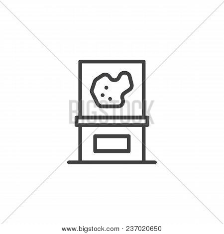Exhibition exposition part of meteorite in museum outline icon. linear style sign for mobile concept and web design. simple line vector icon. Symbol, logo illustration. Pixel perfect vector graphics poster