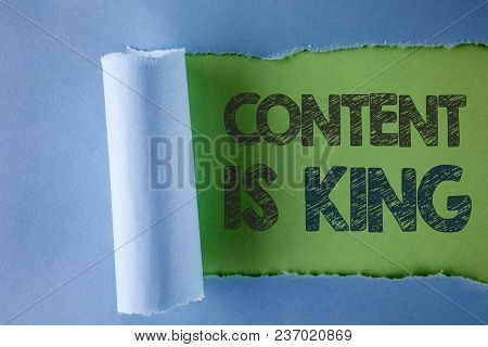 Conceptual Hand Writing Showing Content Is King. Business Photo Text Articles Or Posts Can Guarantee