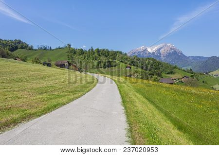 Springtime View From The Foot Of Mt. Stanserhorn In The Swiss Canton Of Nidwalden Close To The Town
