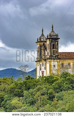 Ancient Historical Church High In One Of The Several Mountains Of The City Of Ouro Preto With The Ve