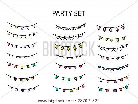 Party Set With Different Garlands And Flags
