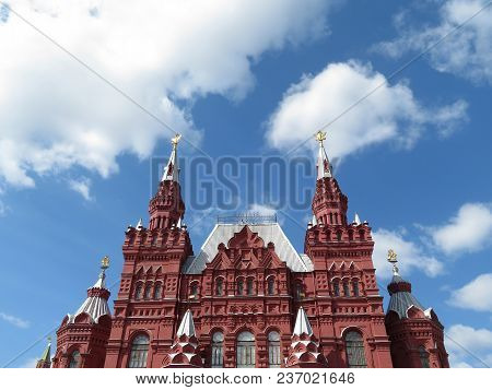 Red Square In Moscow, Russian Landmark. Building Of The State Historical Museum On The Background Of