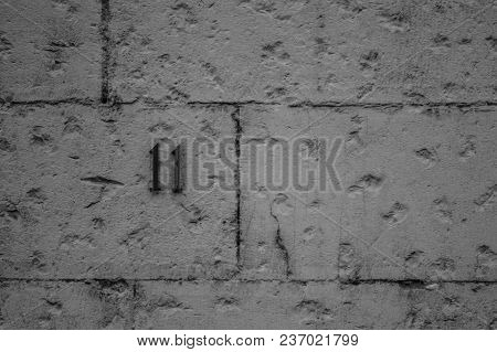 Stone Wall From Old House Black And White