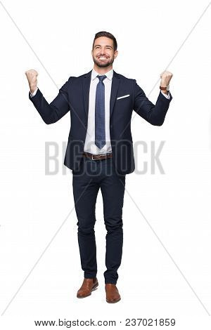 Happy Successful Caucasian Businessman With Toothy Smile Enjoying Win, Isolated On White