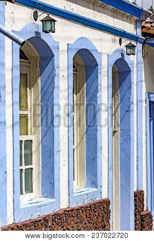 Facade Of Old House In Colonial Style In Blue And White Colors In The City Of Ouro Preto, Minas Gera