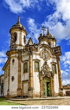 Facade Of The Church Of São Francisco De Paula In Ouro Preto, Minas Gerais With Its Windows, Large W