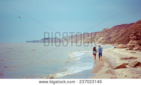 Couple Walking On Beach, Embracing Love Couple