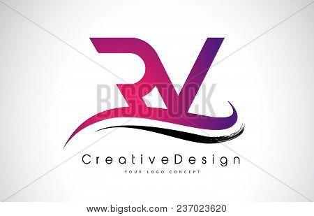 Rv R V Letter Logo Design In Black Colors. Creative Modern Letters Vector Icon Logo Illustration.