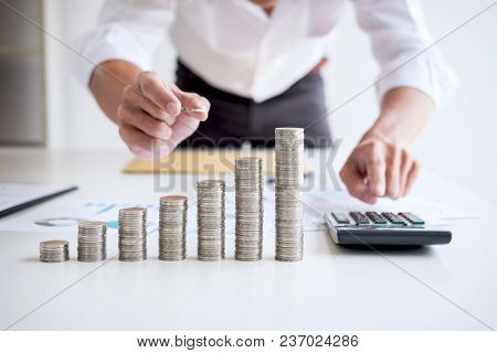 Business Accountant Or Banker, Businessman Calculate And Analysis With Stock Financial Indices And P