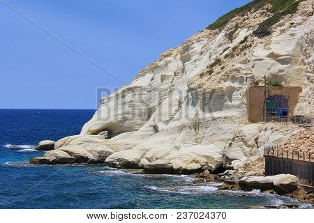 Nature Reserve Rosh Hanikra Is A Geologic Formation In Israel, Located On The Coast Of The Mediterra