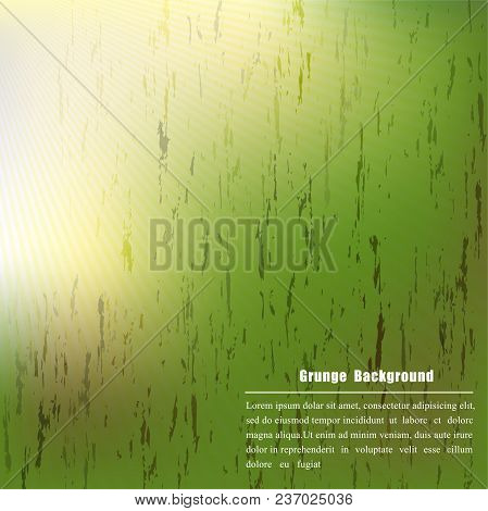 Grunge Backgroung On Green Color With Sunlight,vector Illustration
