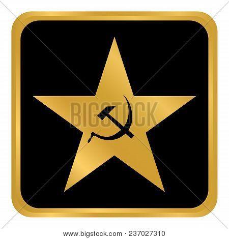 Communism Star Button On White Background. Vector Illustration.