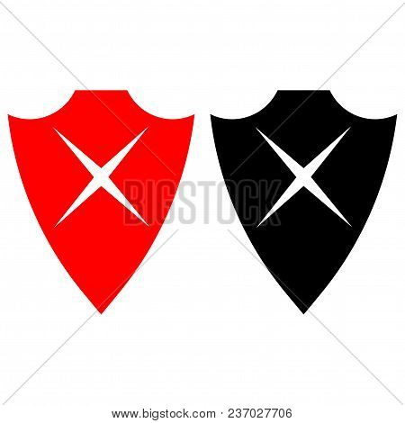 Vector Shield. Cross Icons. Vector Icon Flat Style