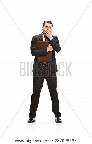 Full Body Or Full-length Portrait Of Bored Businessman Or Diplomat With Folder On White Studio Backg