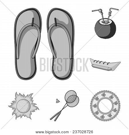 Summer Rest Monochrome Icons In Set Collection For Design. Beach Accessory Vector Symbol Stock  Illu