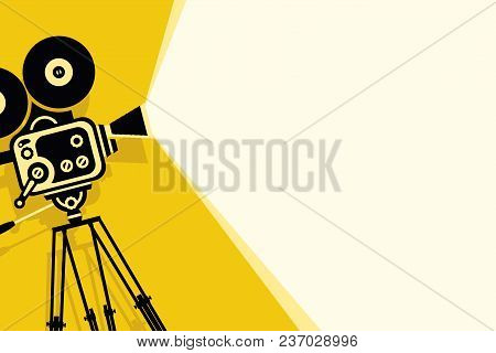 Vector Yellow Background With Lighting Old Fashioned Movie Camera On The Tripod. Can Used For Banner