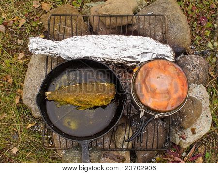 Cooking Fish Dinner on Campfire
