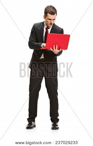 Full Body Or Full-length Portrait Of Businessman Or Diplomat On White Studio Background. Serious You
