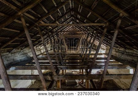 The Roof Of The Building. The Rafter System Rests On The Walls