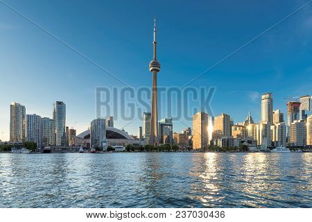 Toronto Skyline At Beautiful Sunny Day, Toronto, Ontario, Canada.
