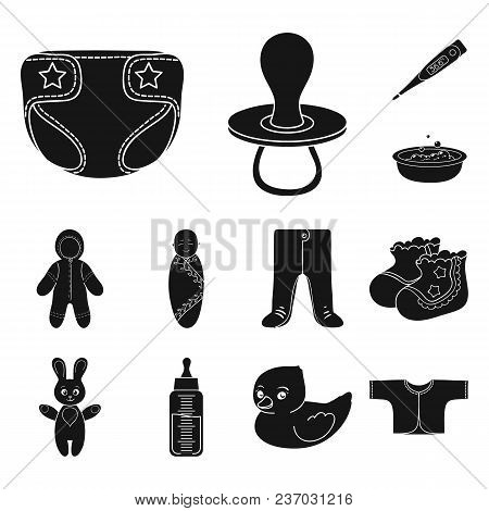 Birth Of A Baby Black Icons In Set Collection For Design. Newborn And Accessories Vector Symbol Stoc