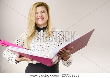 Happy Positive Accountant Business Woman Holding Pink Binder With Documents And Big Pen, Enjoying He