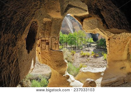 View From Abandoned Cave Church Of St. Agathangelus Carved In The Rock On The  Pink Valley Landscape