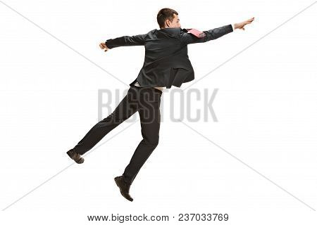 Full Body Or Full-length Portrait Of Jumping Businessman Or Diplomat On White Studio Background. Ser