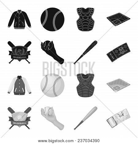 Club Emblem, Bat, Ball In Hand, Ticket To Match. Baseball Set Collection Icons In Black, Monochrome