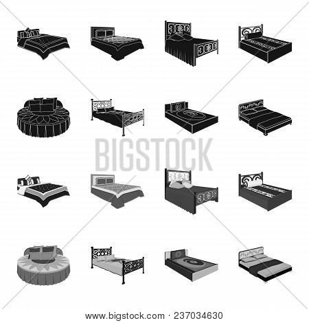 Different Beds Black, Monochrome Icons In Set Collection For Design. Furniture For Sleeping Vector I