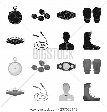 Ring, Rope, Referee, Sneakers Boxing Set Collection Icons In Black, Monochrome Style Vector Symbol S