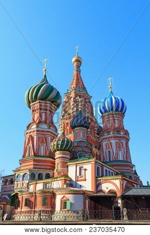 St. Basil's Cathedral On Blue Sky Background In Sunny Morning. Moscow In Spring