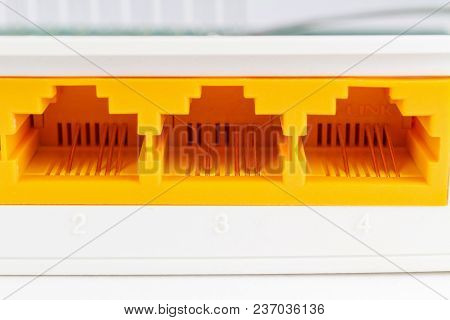 Rj45 Ports On The Back Panel Of The Router Closeup
