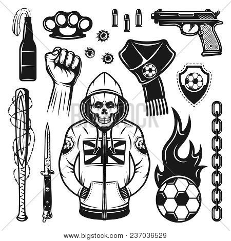 Soccer Hooligans Attributes Set Of Vector Objects And Design Elements In Monochrome Vintage Style Is
