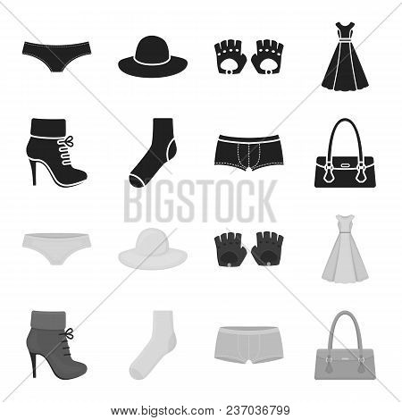 Women Boots, Socks, Shorts, Ladies Bag. Clothing Set Collection Icons In Black, Monochrome Style Vec